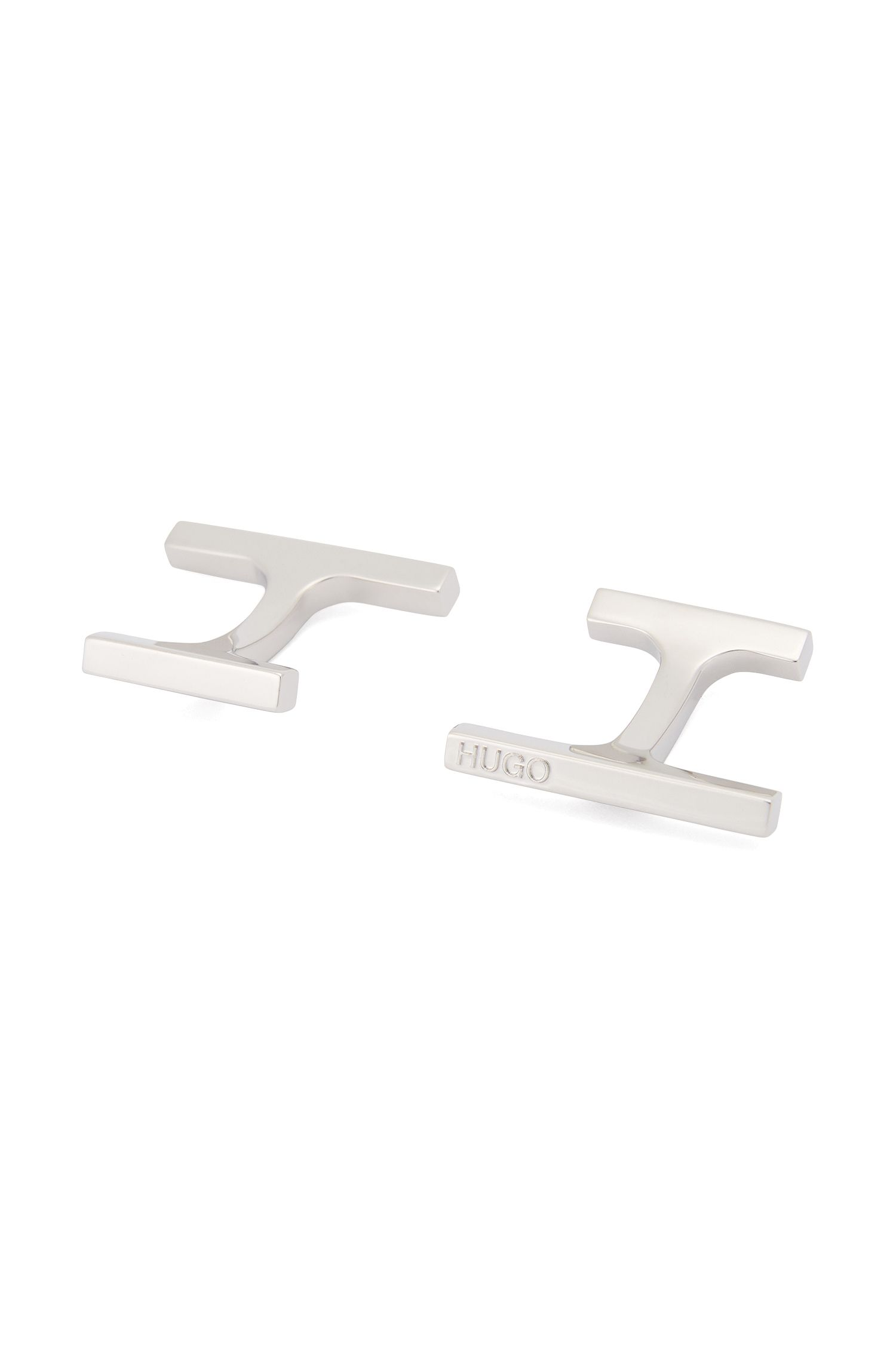 Polished bar cufflinks with fix fastenings