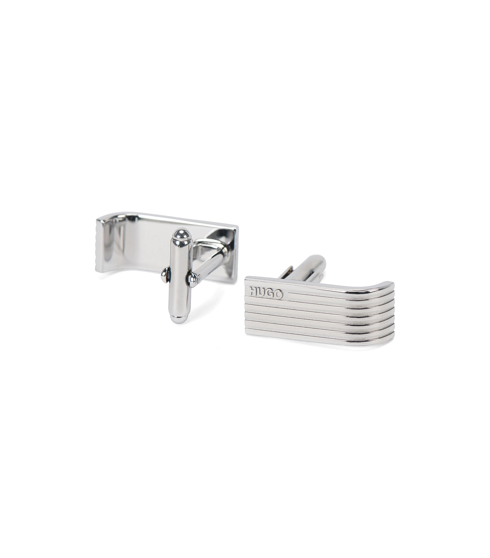Fluted cufflinks with clip fastenings, Silver
