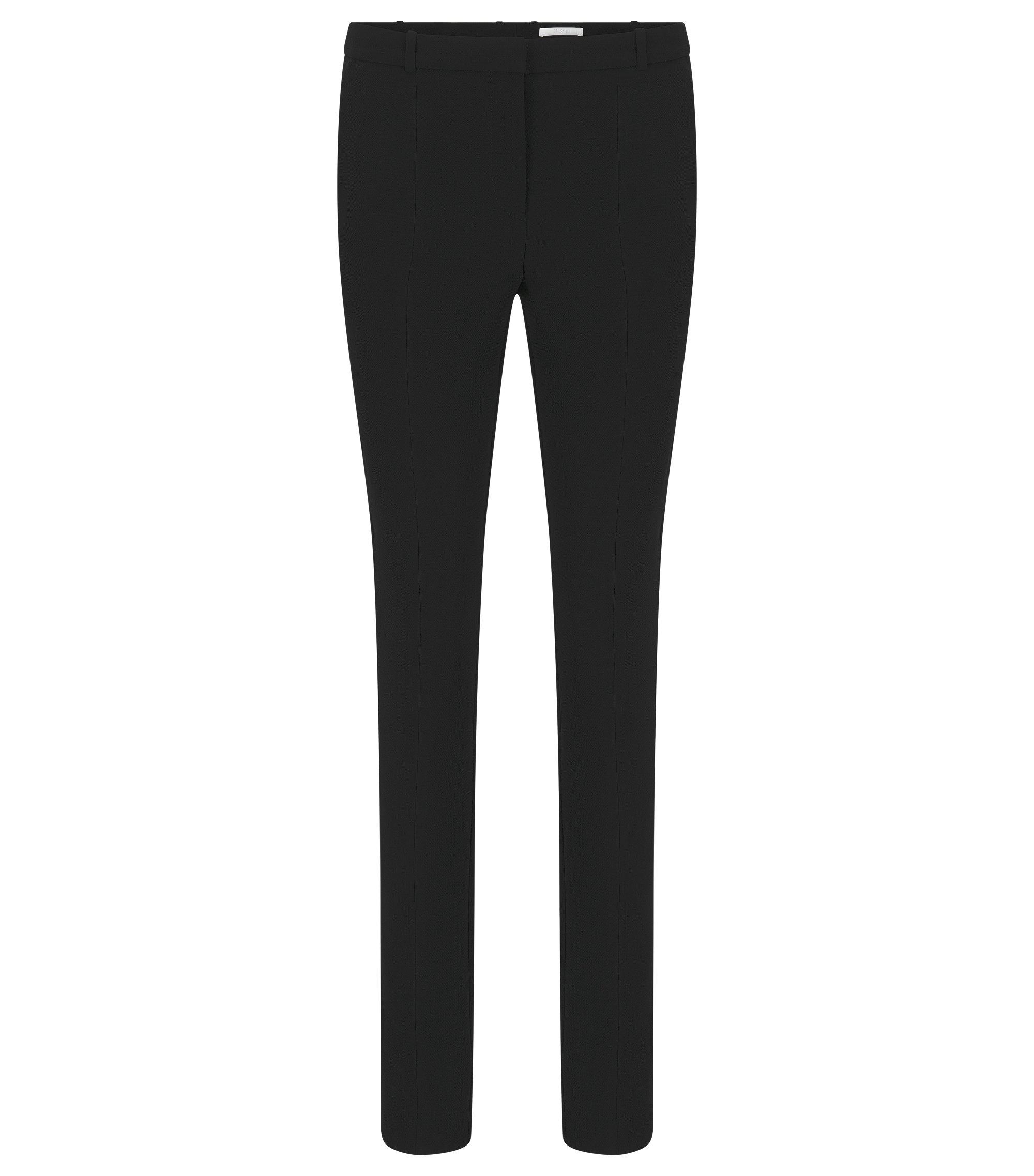 Regular-fit broek in crêpe met fijne crinklestructuur, Zwart