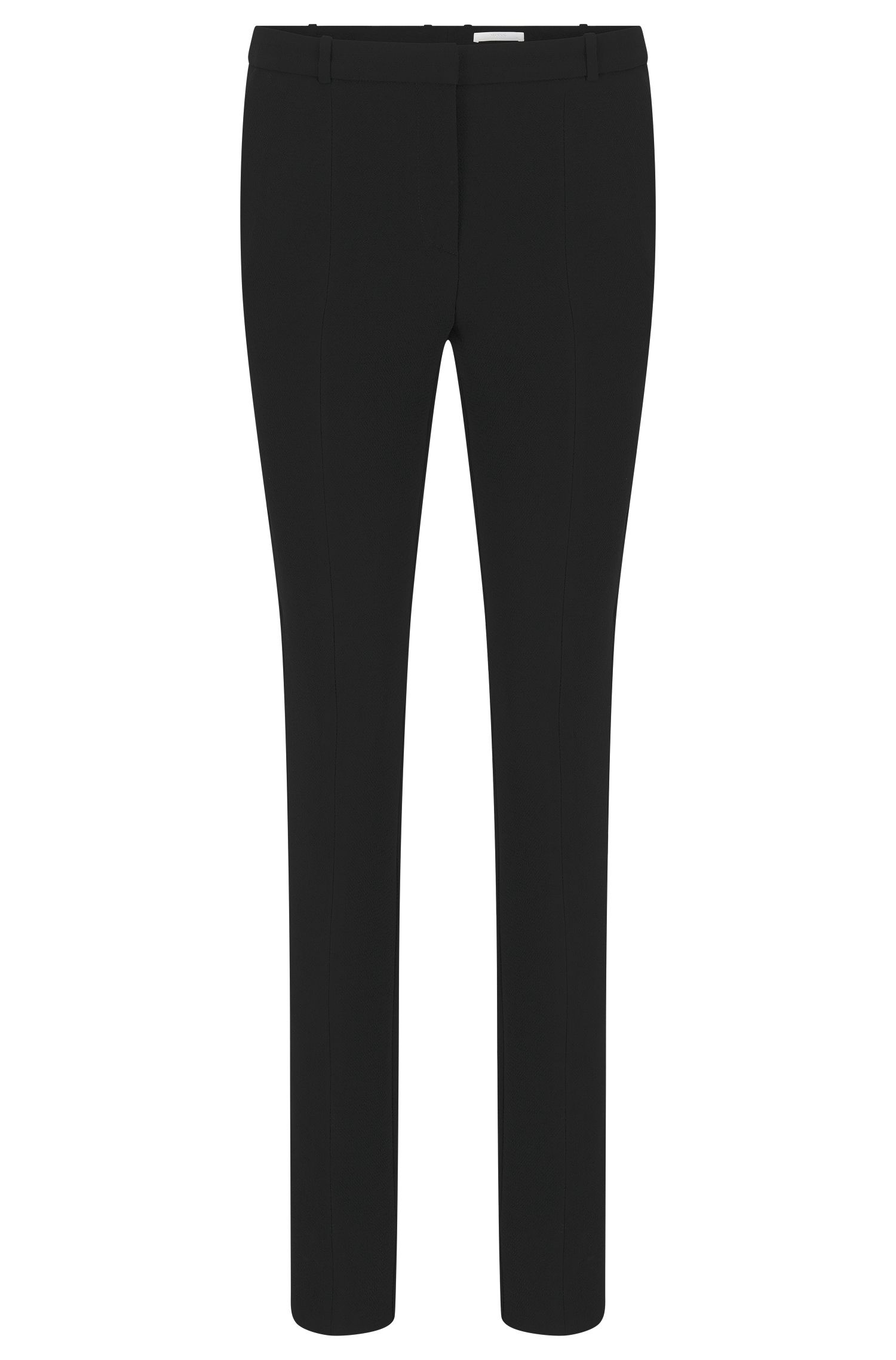 Pantaloni regular fit in crêpe stropicciato