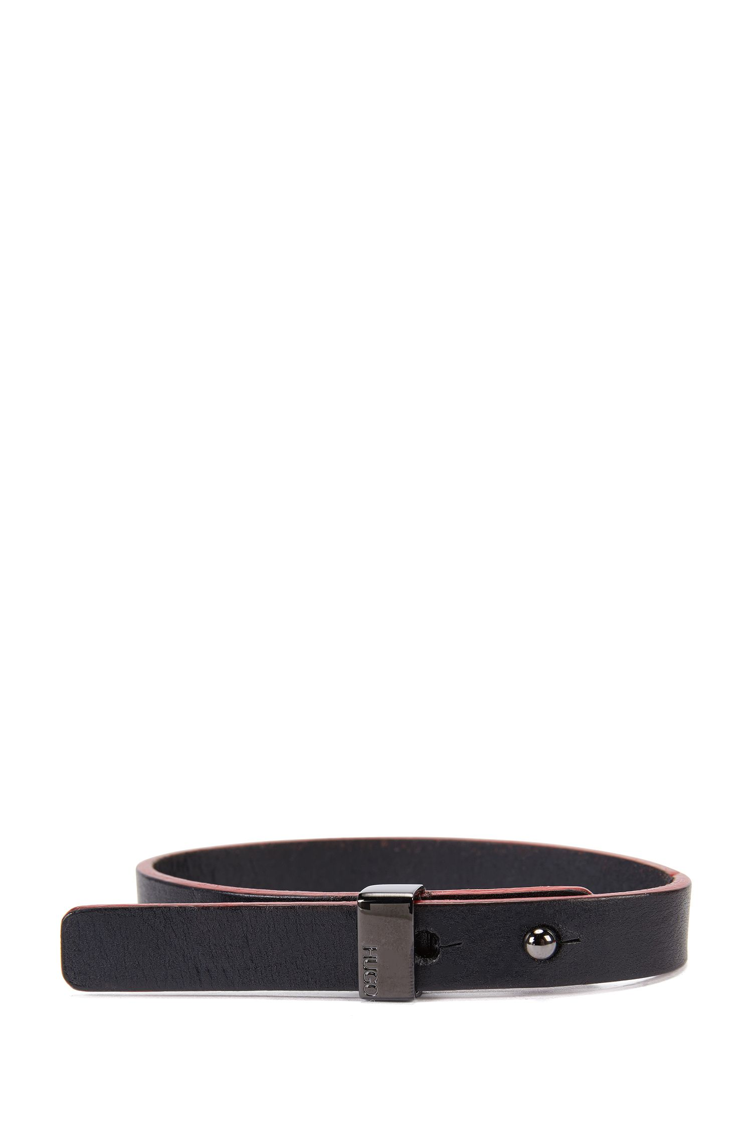 Leather bracelet with engraved pin closure