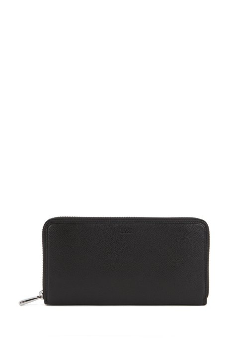 Zip-around wallet in leather, Black