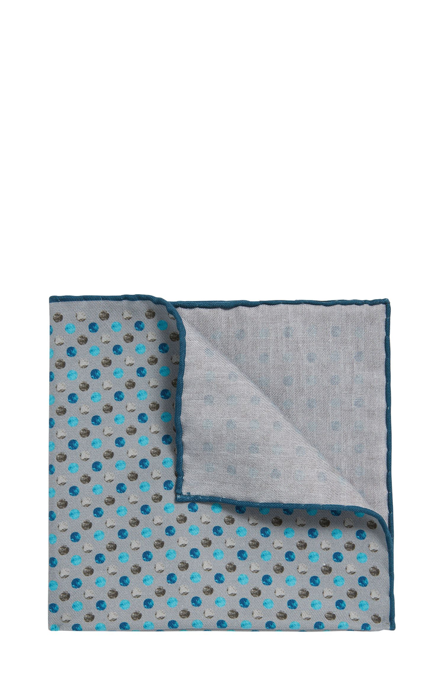 Reversible patterned pocket square in silk-cotton blend