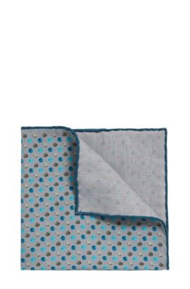 Reversible patterned pocket square in silk-cotton blend, Light Grey