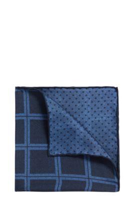 Reversible double-print pocket square in fine silk, Dark Blue