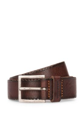 Leather belt with distressed edges, Dark Brown