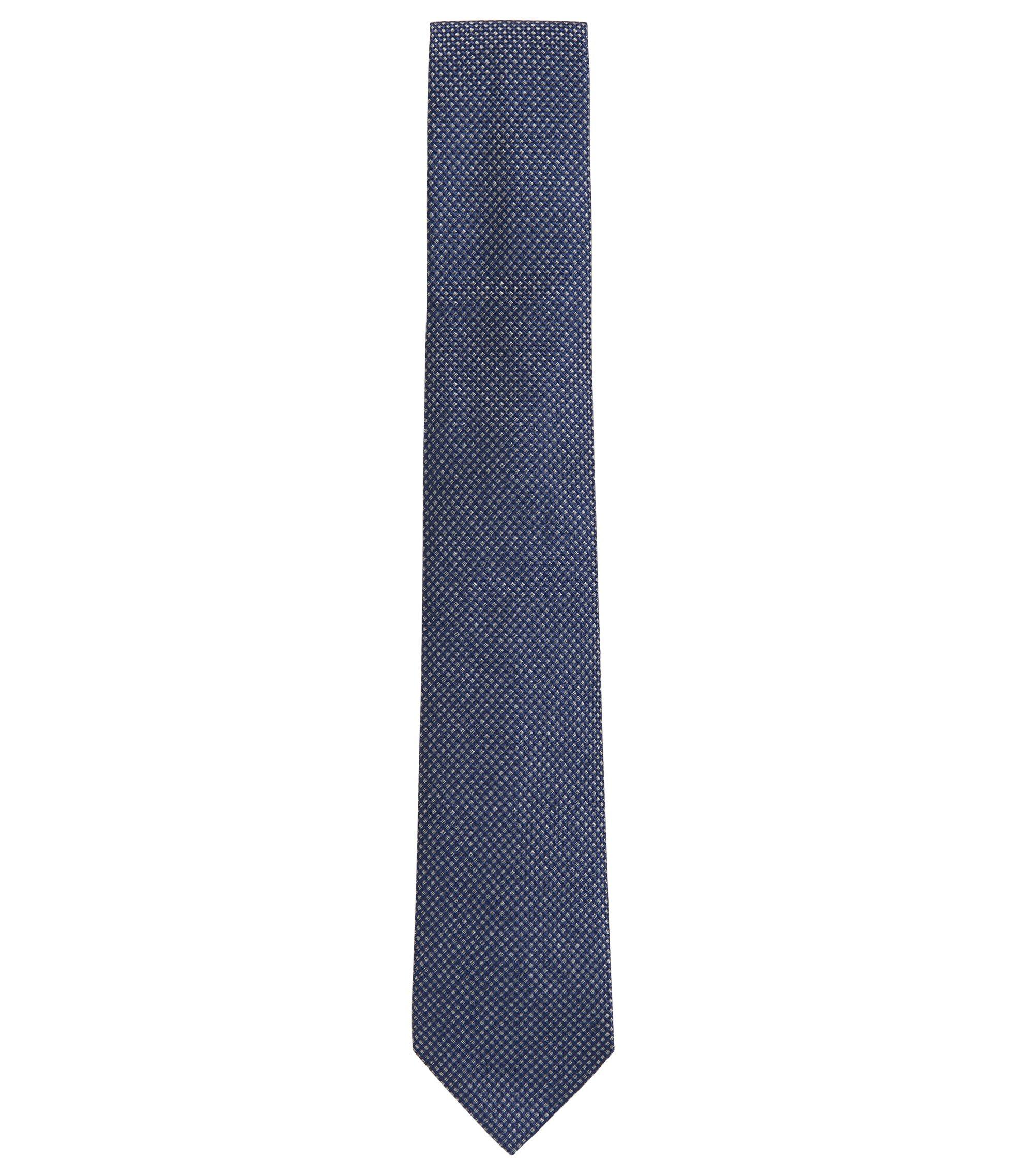 Silk jacquard tie in jaspé yarn diagonal stripe, Dark Blue