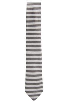 Cravatta jacquard in seta con disegni a contrasto, Grigio chiaro