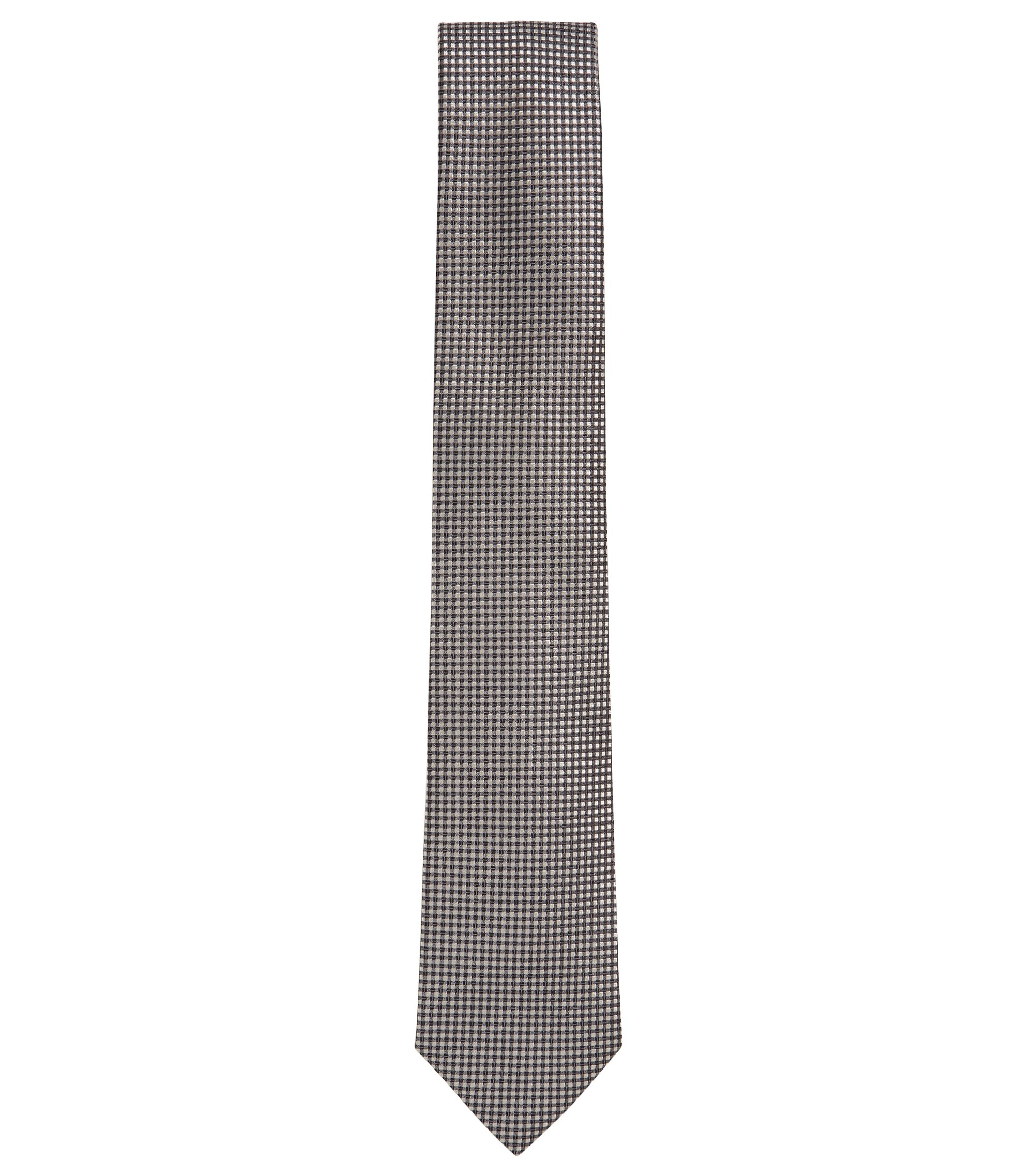 Silk-jacquard tie with contrast pattern, Grey