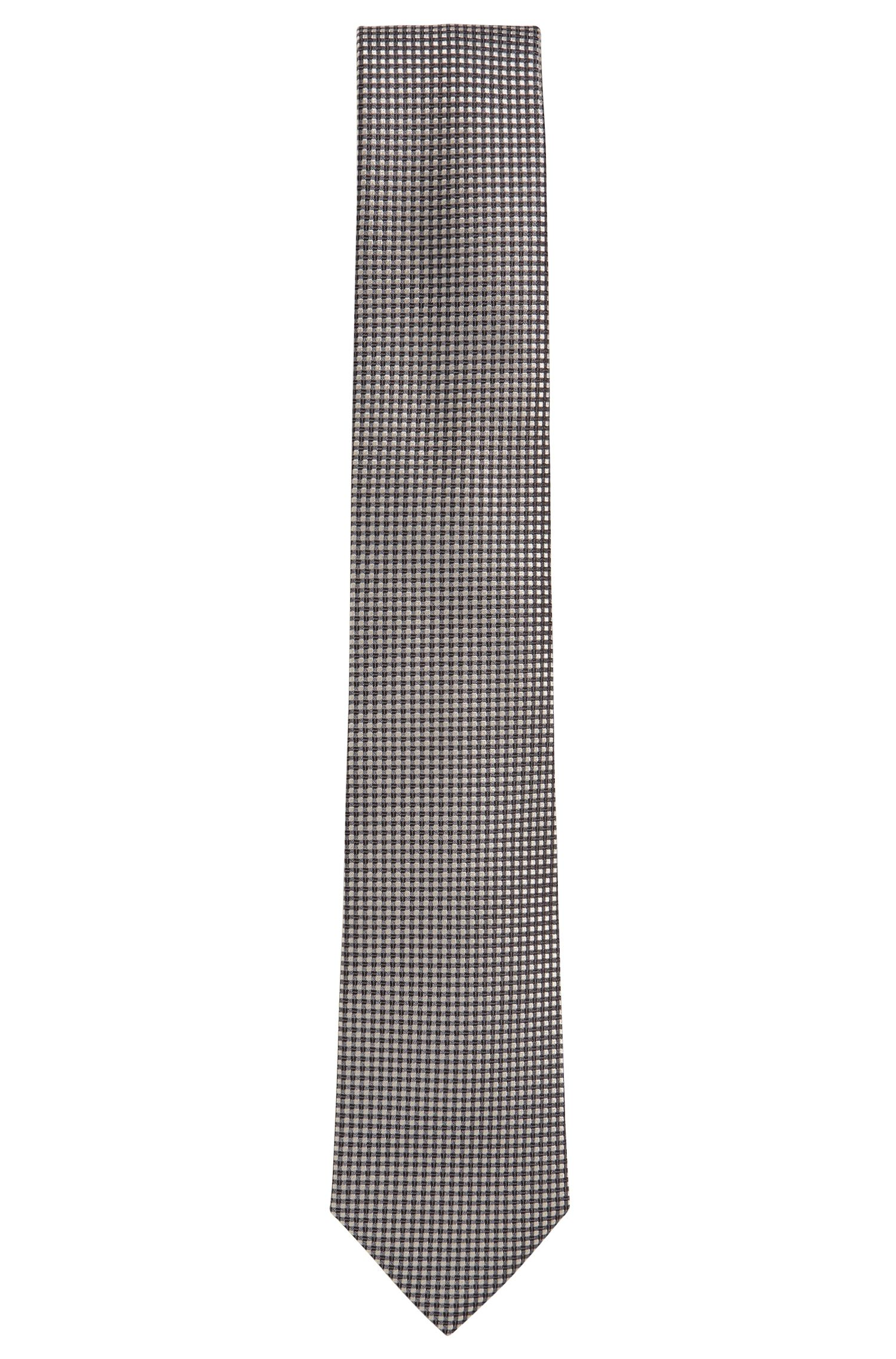 Silk-jacquard tie with contrast pattern