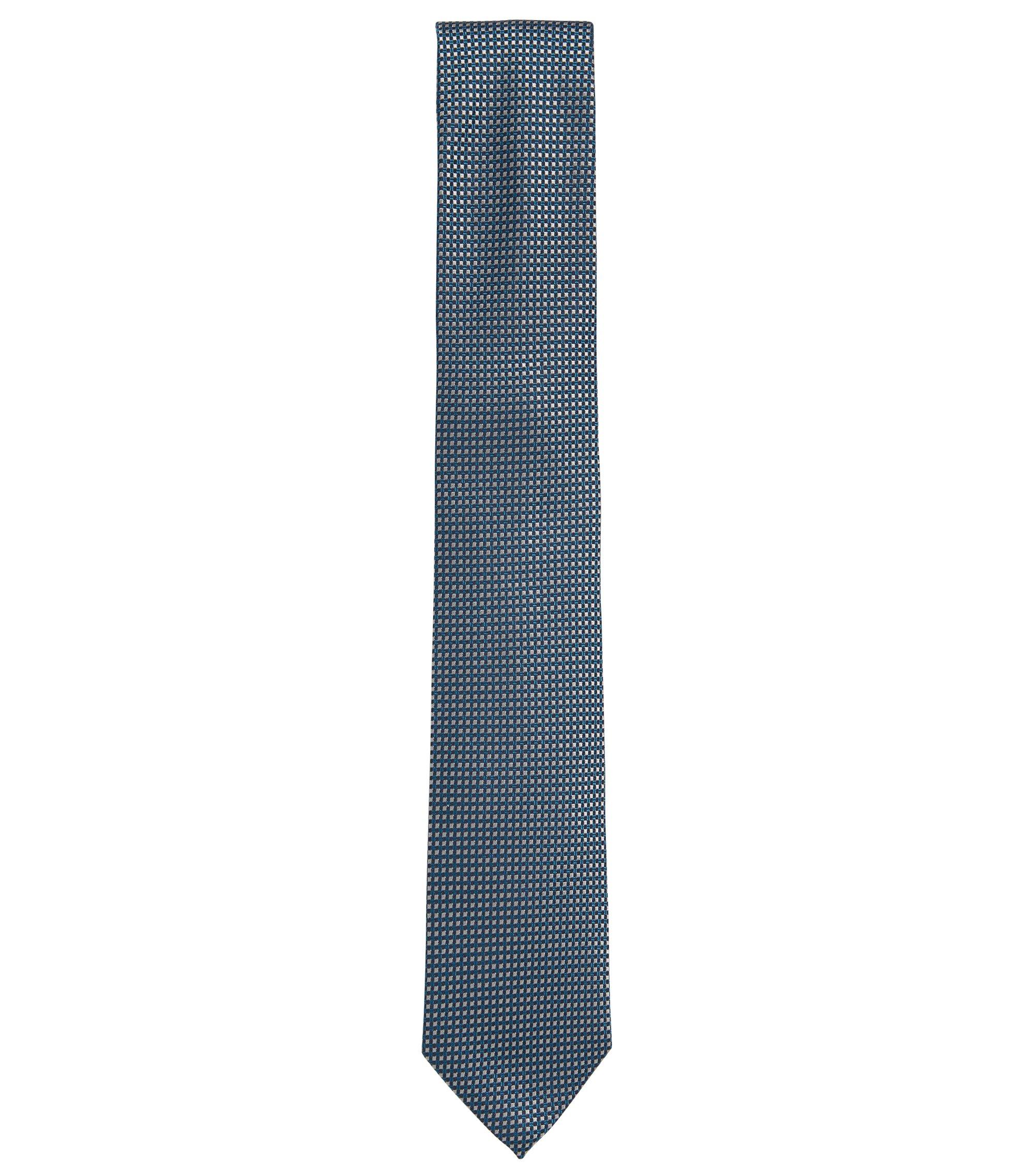 Cravate jacquard en soie à motif contrastant, Turquoise