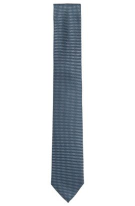 Silk-jacquard tie with contrast pattern, Turquoise