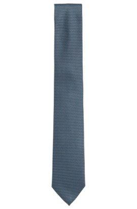 Cravatta jacquard in seta con disegni a contrasto, Turchese