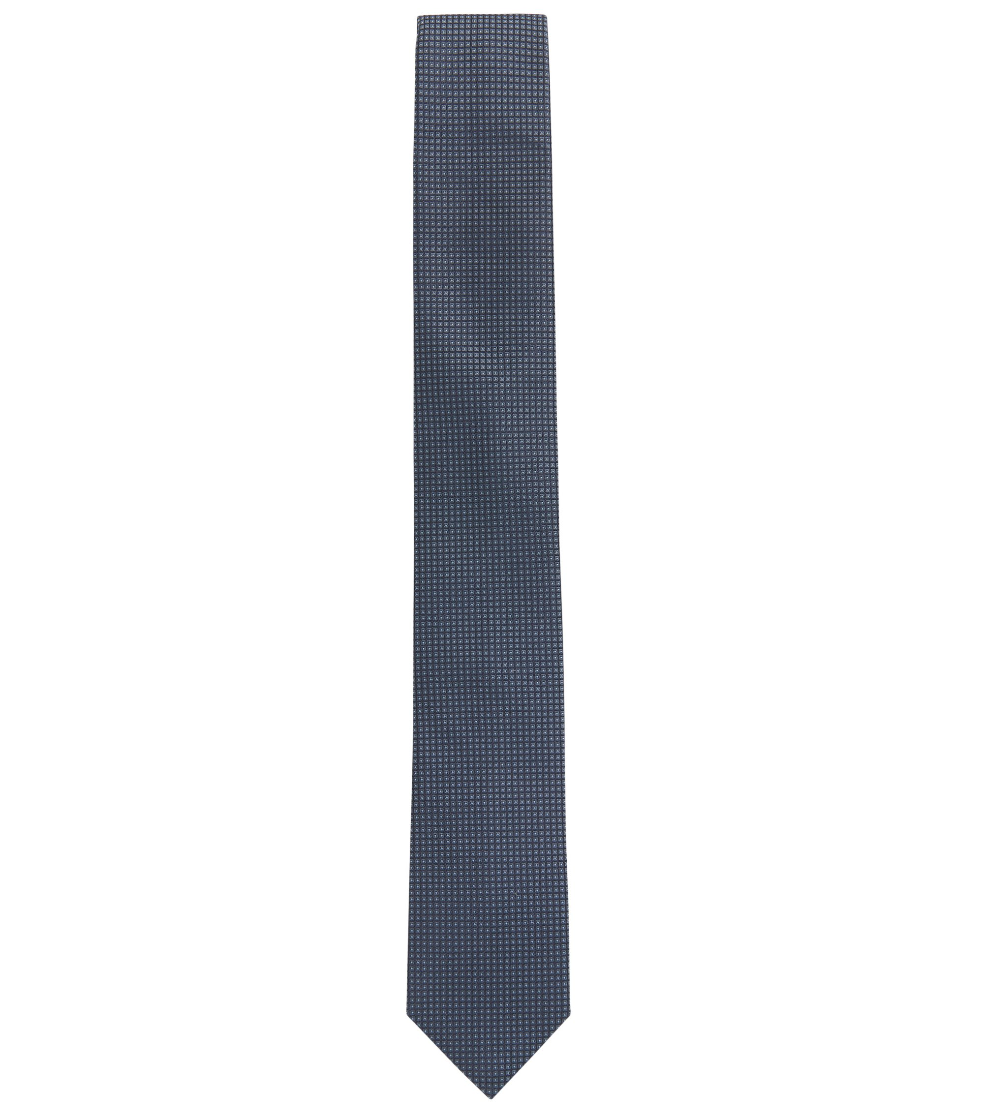 Karierte Krawatte aus Seiden-Jacquard, Hellblau