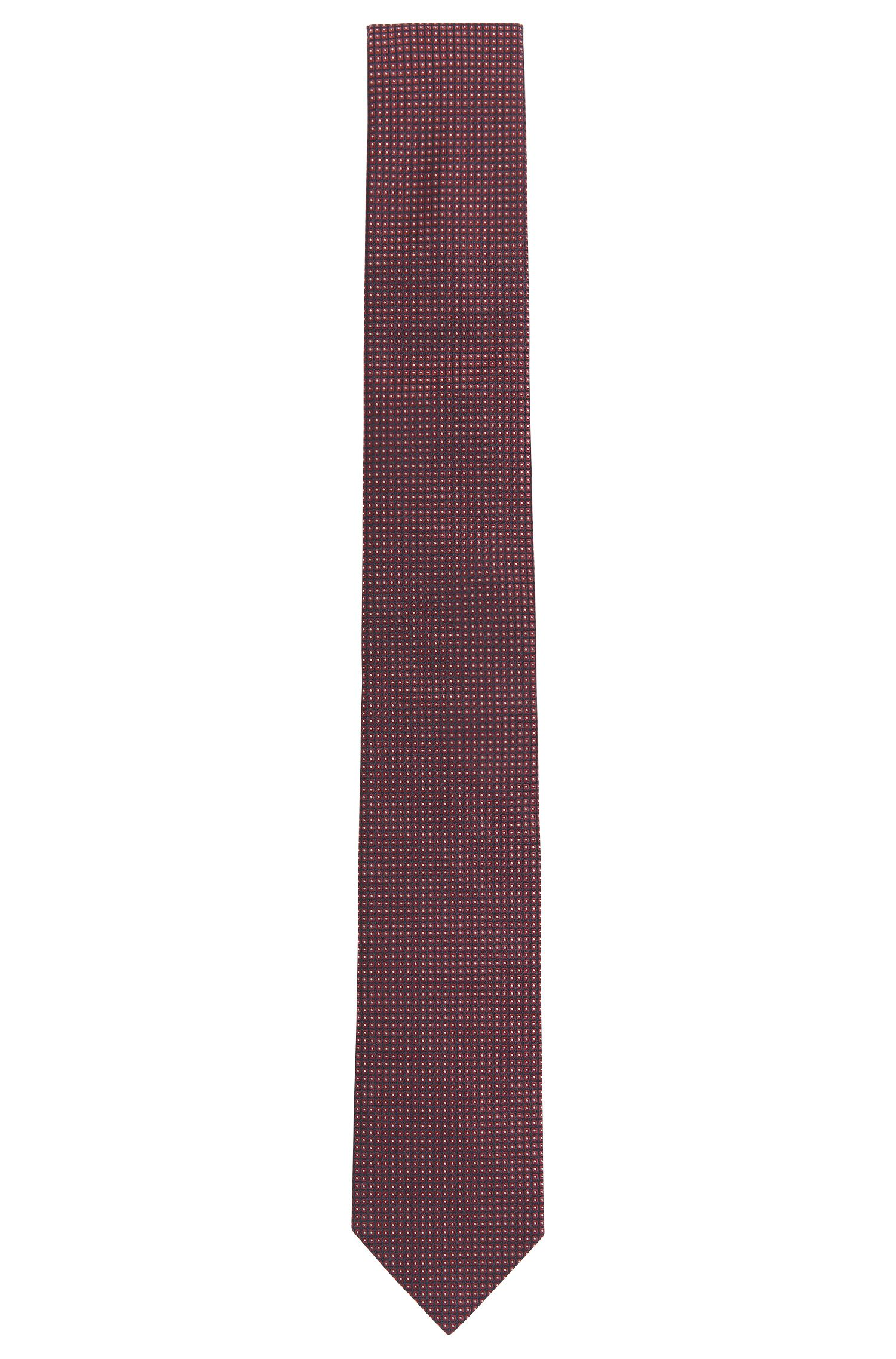 Square-patterned tie in fine silk jacquard
