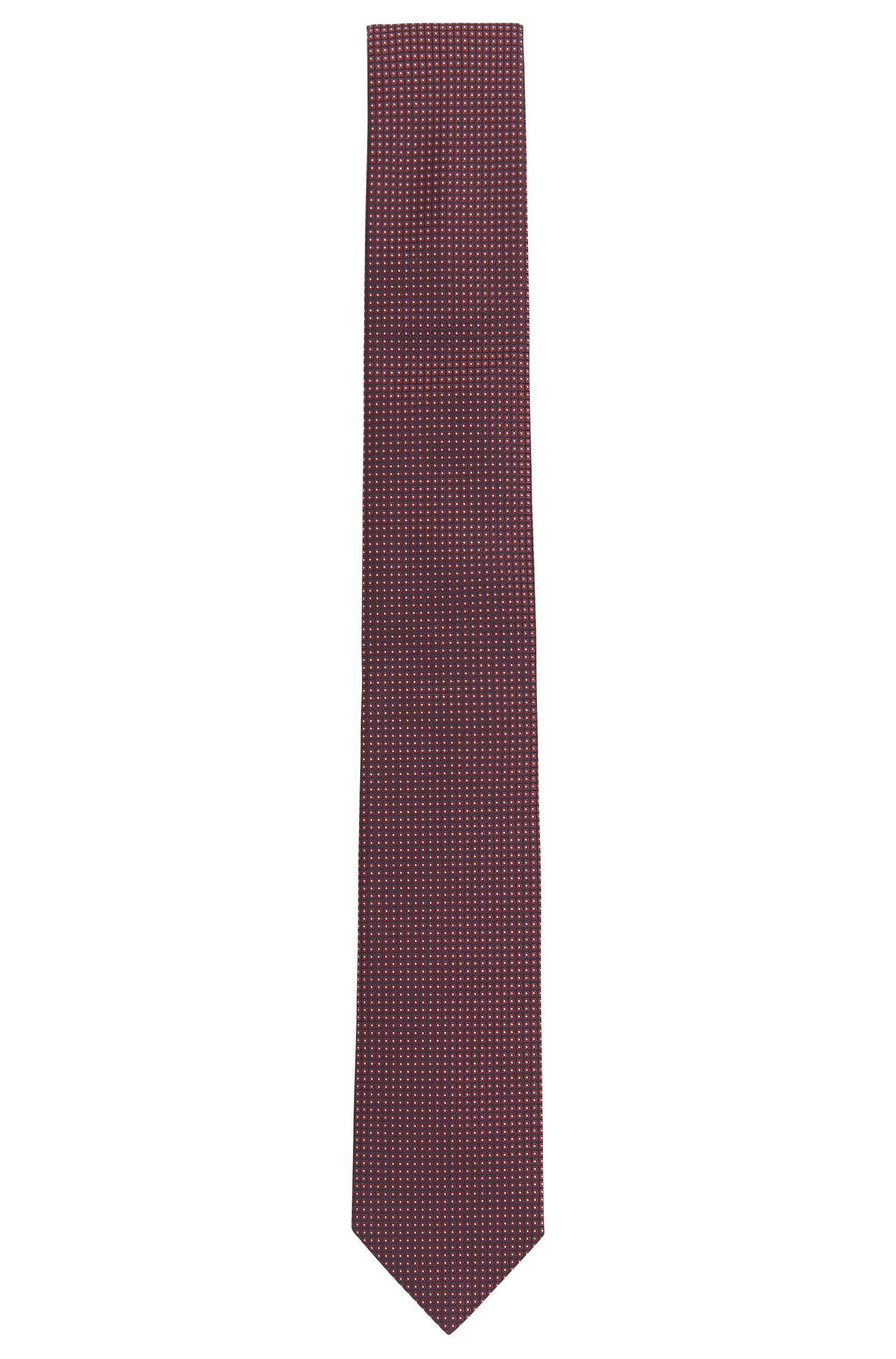 Square-patterned tie in fine silk jacquard
