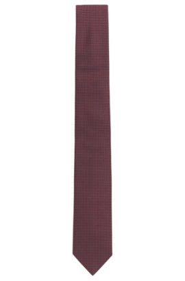Square-patterned tie in fine silk jacquard, Red