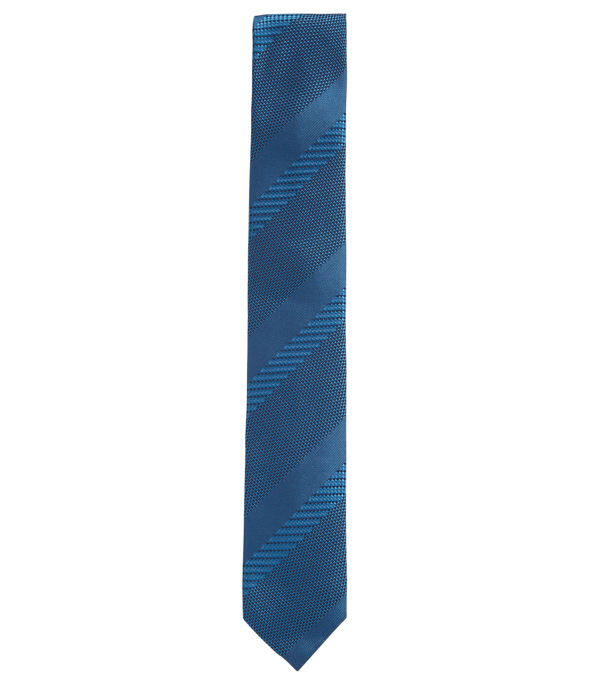 Silk jacquard tie with textured stripes, Turquoise