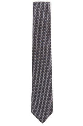 Cravatta in jacquard di seta con motivo geometrico, Blu scuro