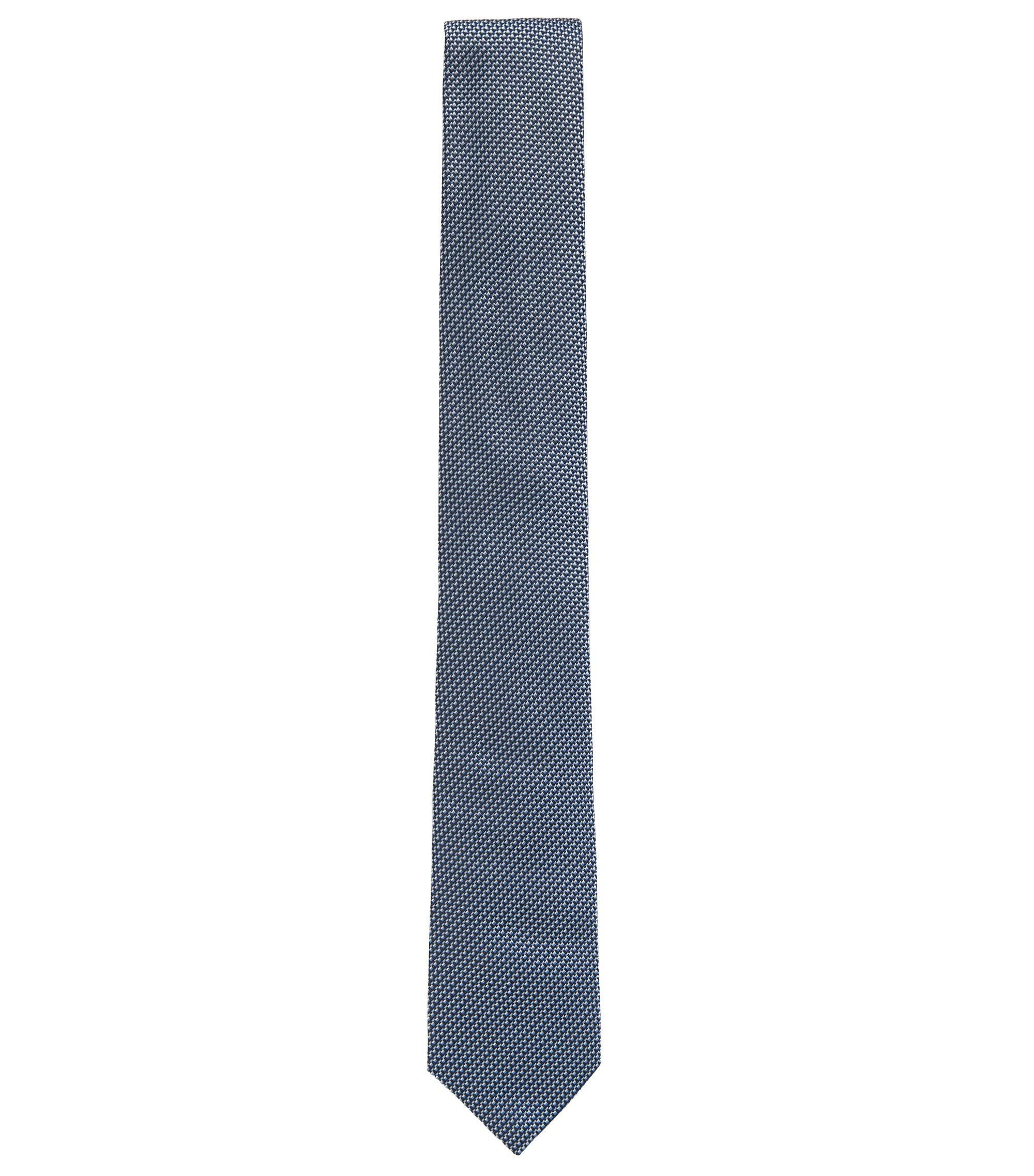 Cravate en jacquard de soie fine à motif, Bleu vif