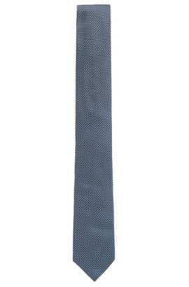 Patterned tie in fine silk jacquard, Light Blue