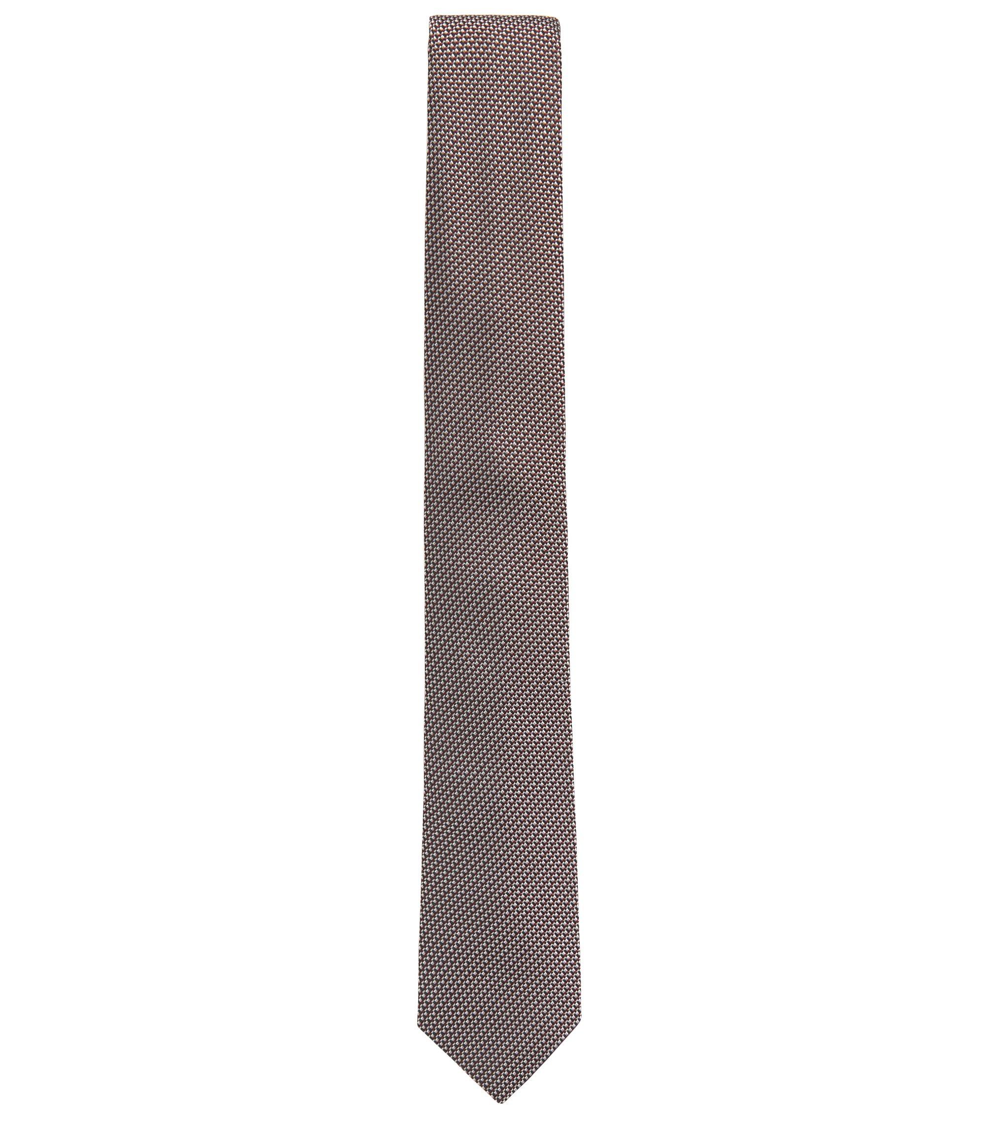 Cravate en jacquard de soie fine à motif, Rouge