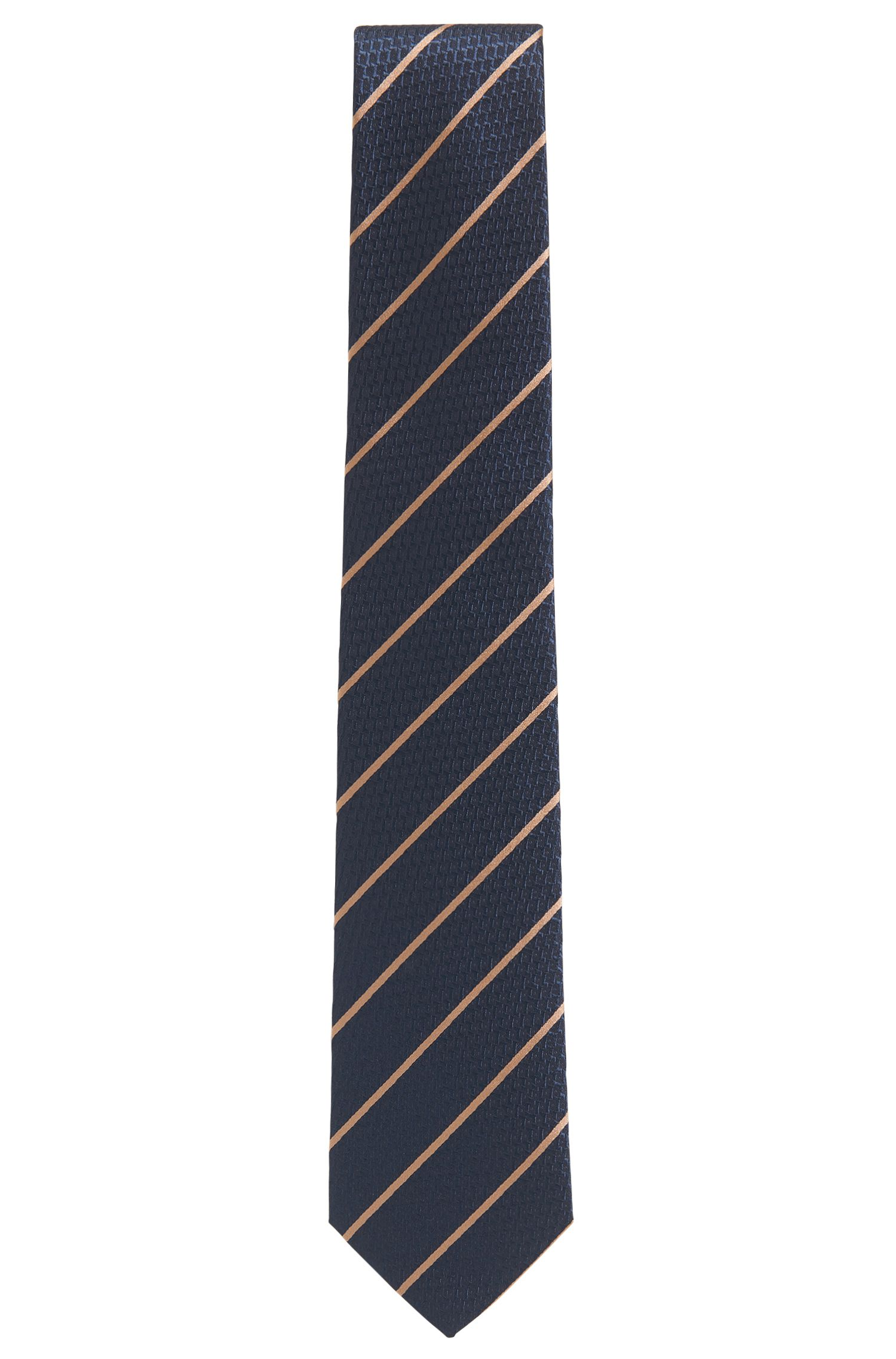 Diagonal striped tie in a textured silk jacquard
