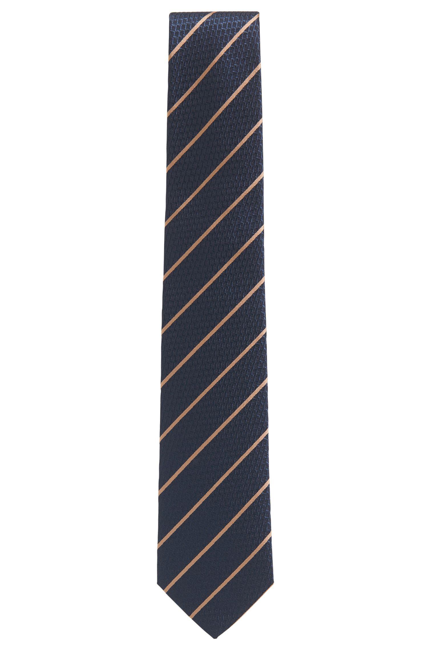 Cravate en jacquard de soie texturé à rayures en diagonale