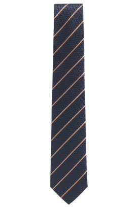 Cravate en jacquard de soie texturé à rayures en diagonale, Bleu foncé