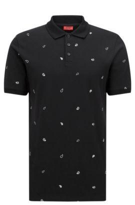 Polo shirt in piqué cotton with paisley print, Black