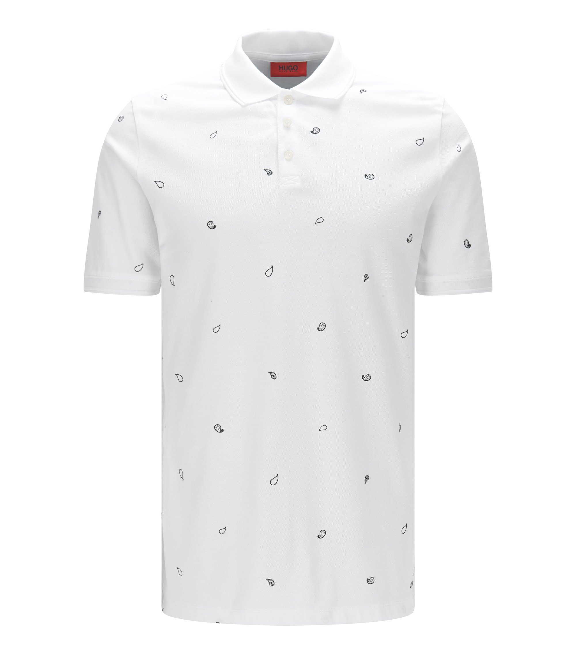 Polo shirt in piqué cotton with paisley print, White