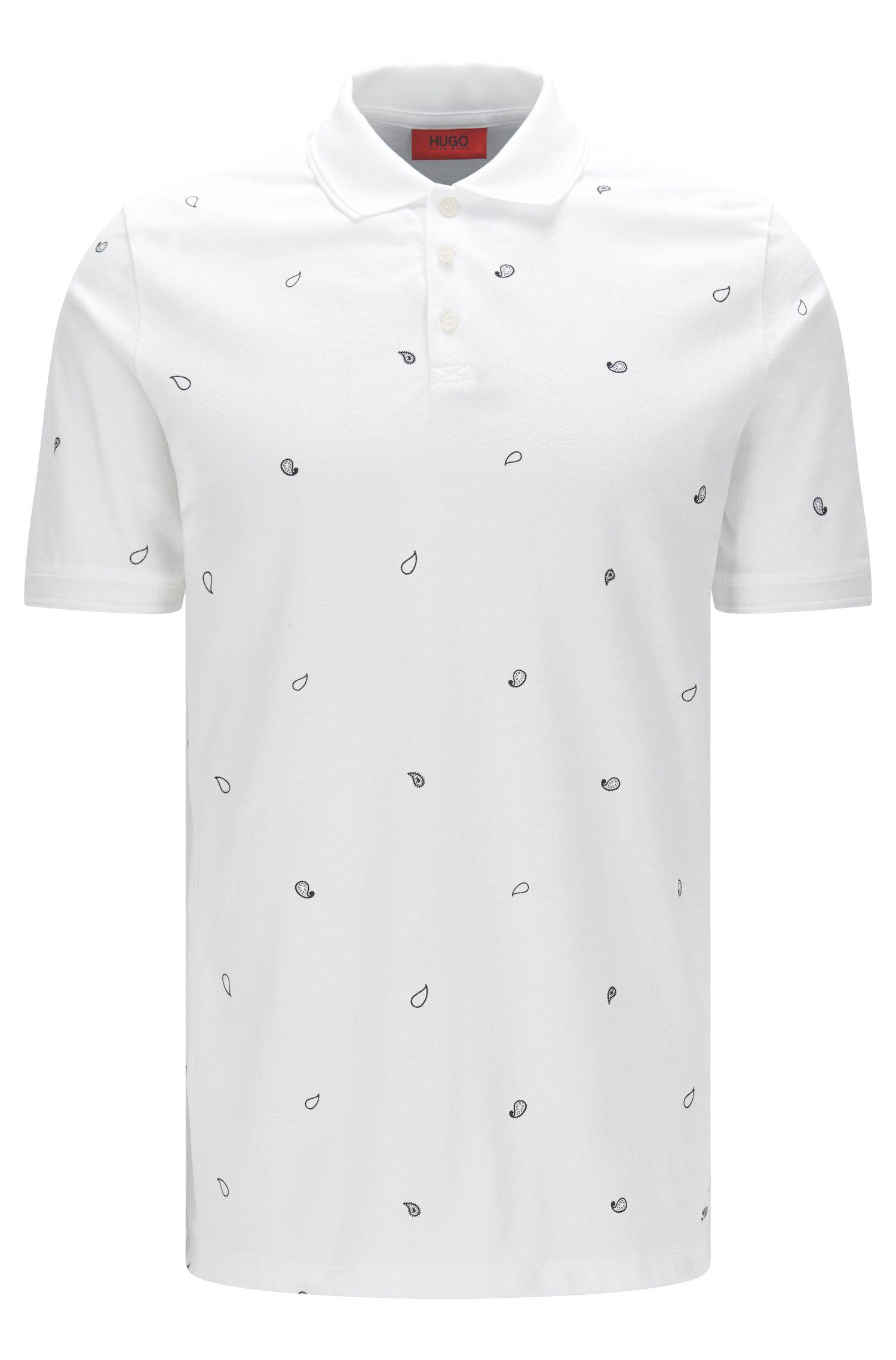 Poloshirt van katoenpiqué met paisleyprint