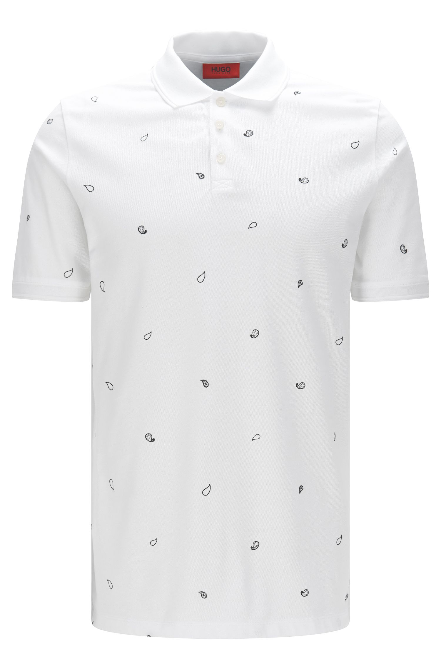 Polo shirt in piqué cotton with paisley print