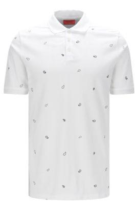 Poloshirt van katoenpiqué met paisleyprint, Wit