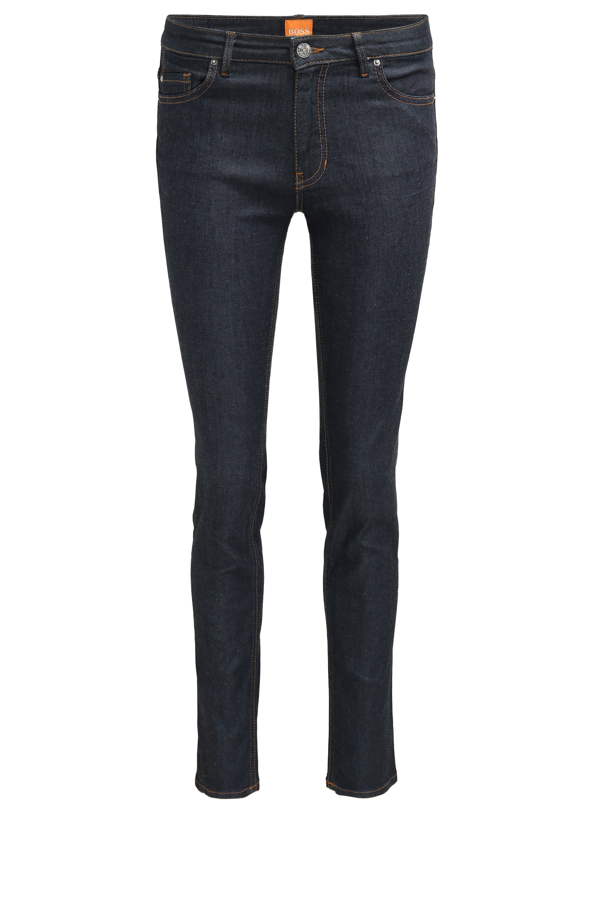 Jeans slim fit in denim elasticizzato grezzo, Blu scuro