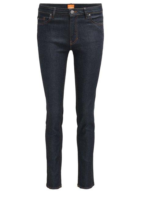 Slim-fit jeans in raw stretch denim, Dark Blue