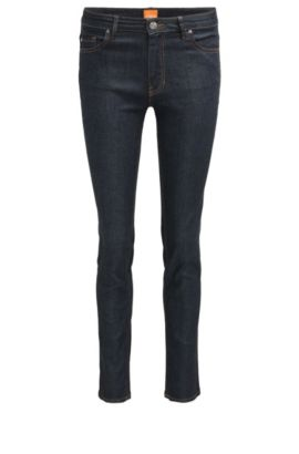 Jeans Slim Fit en denim stretch brut, Bleu foncé