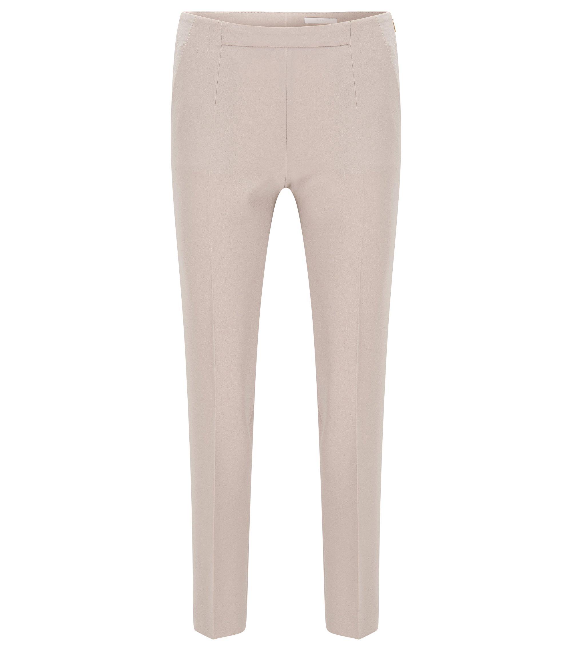 Slim-fit trousers in lightweight crepe, Beige
