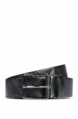 Ledergürtel mit geprägtem Muster, Schwarz