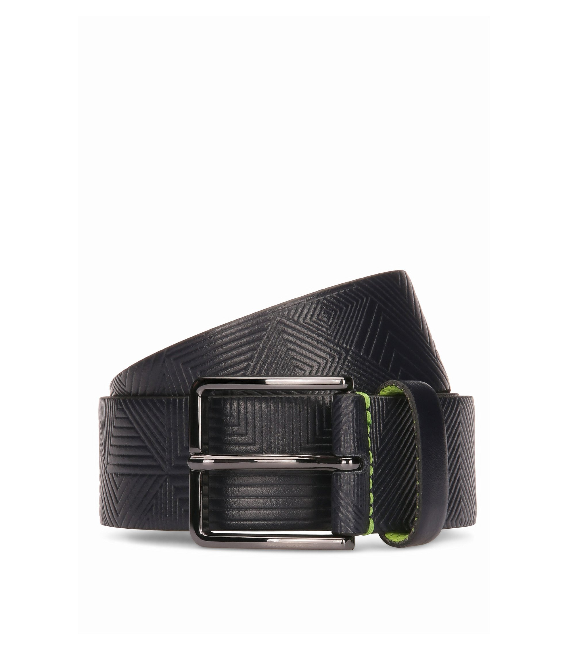 Leather belt with embossed pattern, Dark Blue