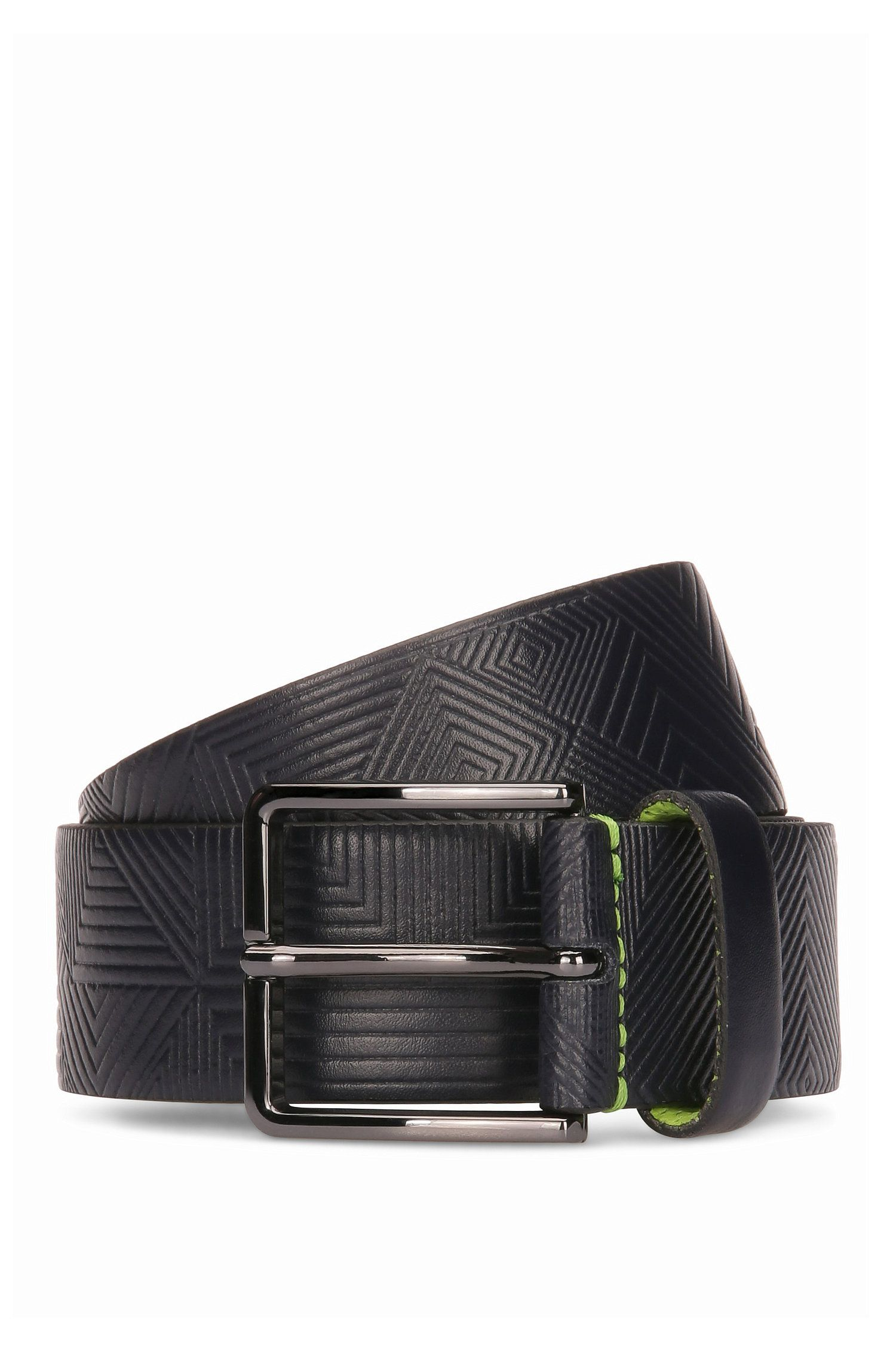Leather belt with embossed pattern