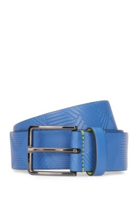 Leather belt with embossed pattern, Open Blue