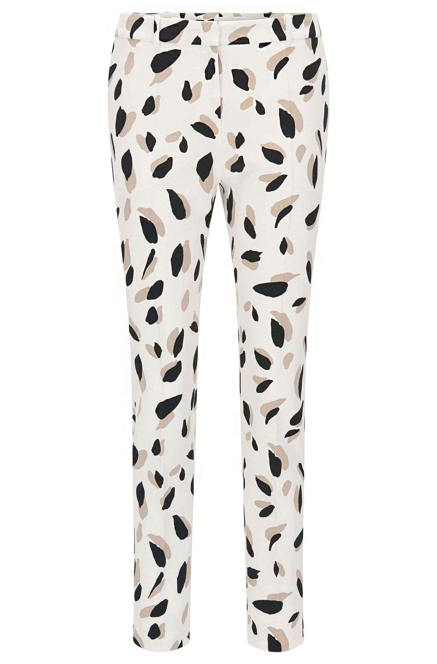 Pantalon Slim Fit à motif en mélange de matières extensible: «Timera»