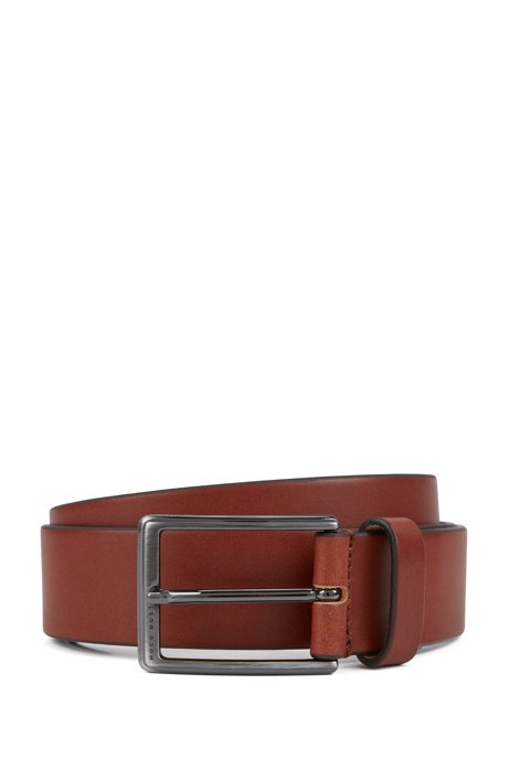 Leather belt with brushed-gunmetal buckle, Brown