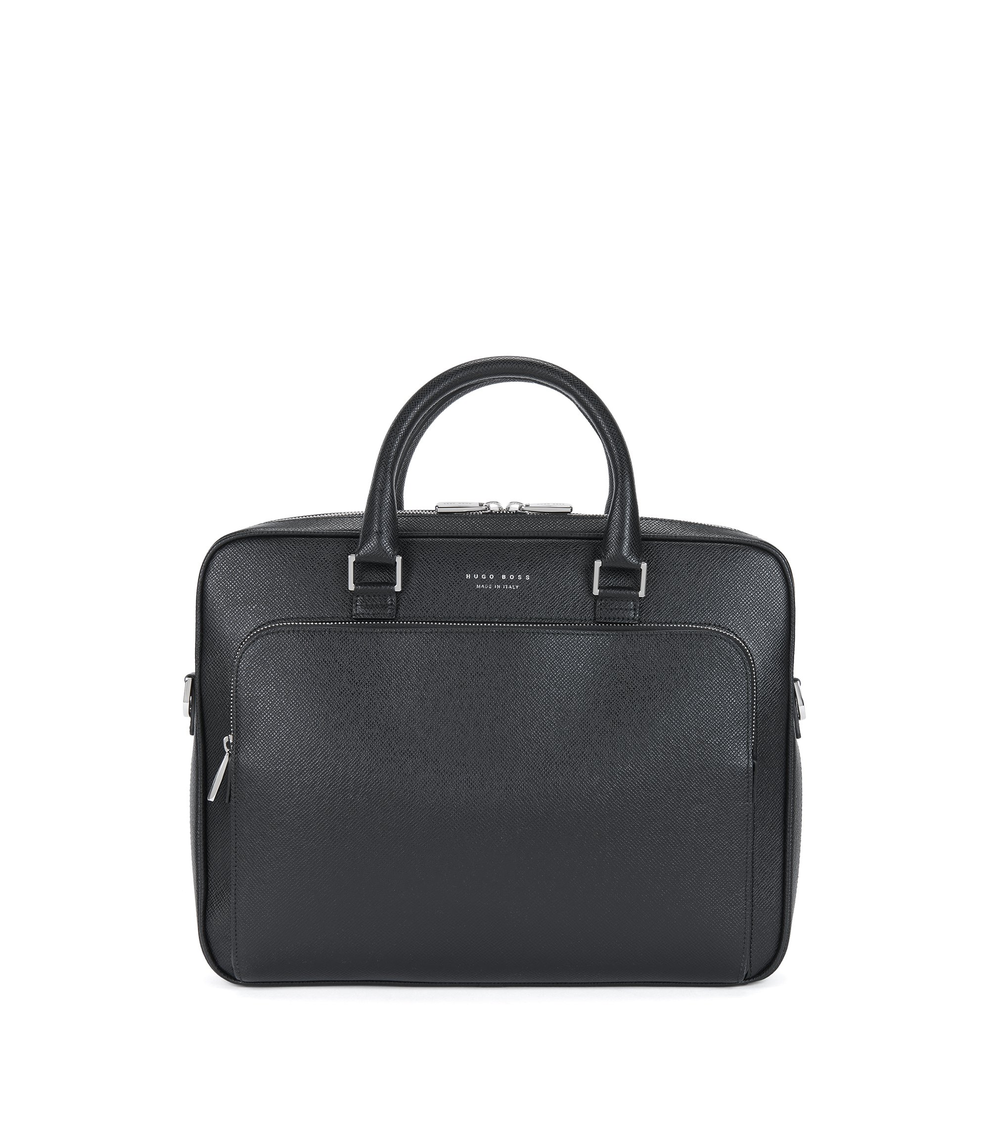 Porte-document BOSS de la collection Signature en cuir palmellato, Noir