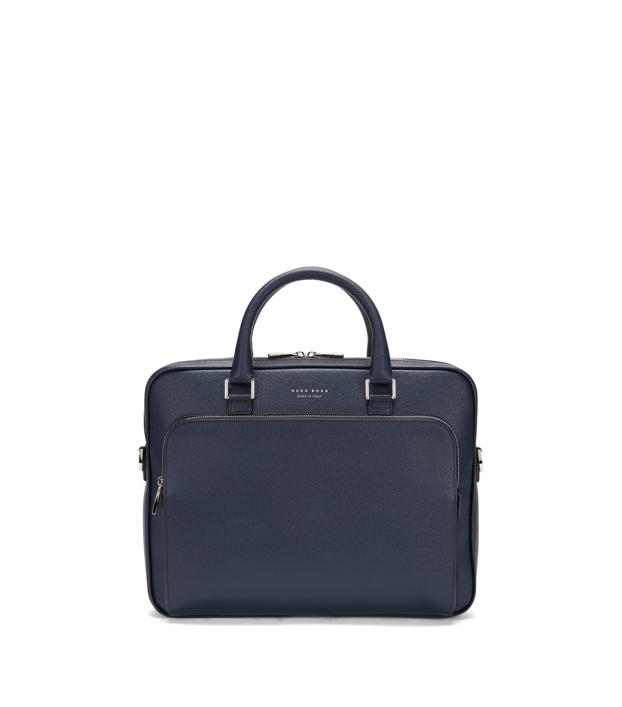 Porte-document BOSS de la collection Signature en cuir palmellato, Bleu foncé