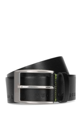 Leather belt with embossed logo detail, Black