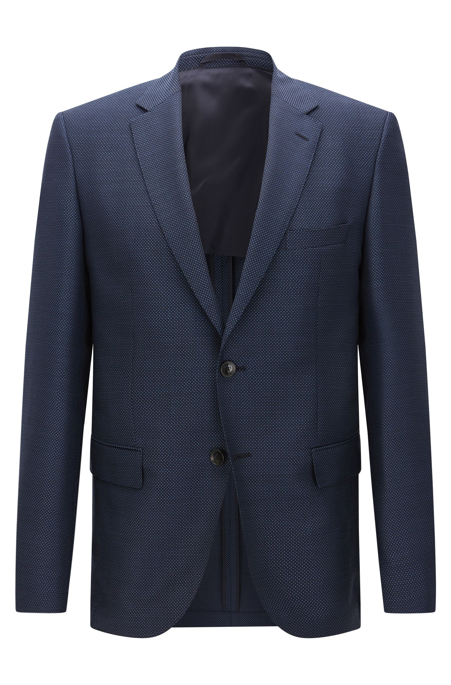 Patterned regular-fit jacket in new wool with elbow patches: 'Jestor'