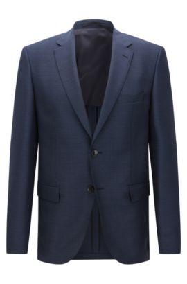 Americana regular fit, confeccionada en lana virgen con coderas y estampado: 'Jestor', Azul oscuro