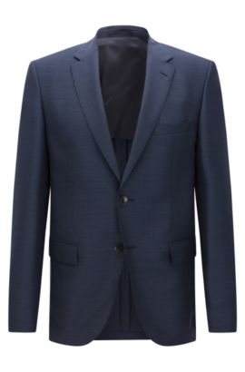 Patterned regular-fit jacket in new wool with elbow patches: 'Jestor', Dark Blue